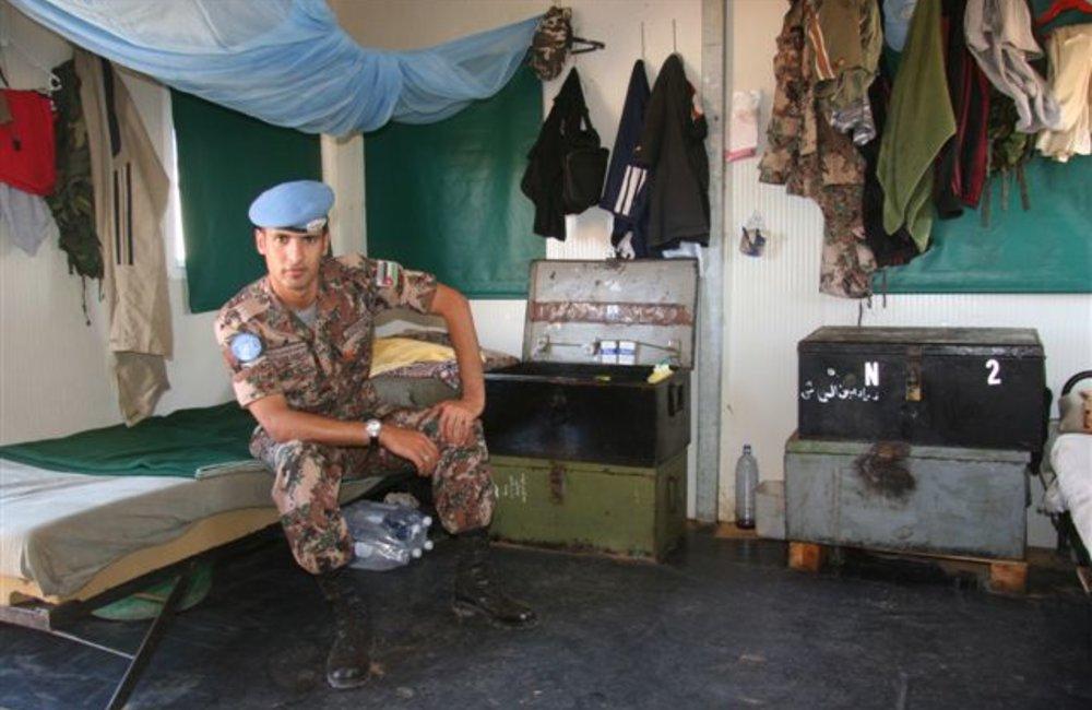 Peacekeeper in his quarters in Shambiko (UNMEE Photo: Ian Steele)