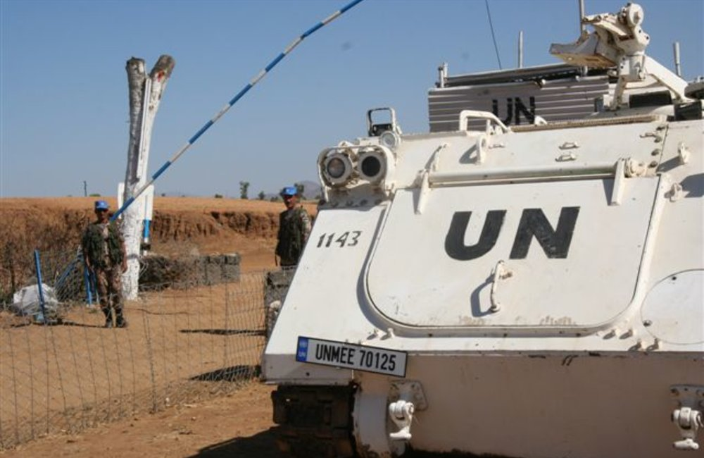 Armored troop carrier in Tukul, Eritrea (UNMEE Photo: Ian Steele)