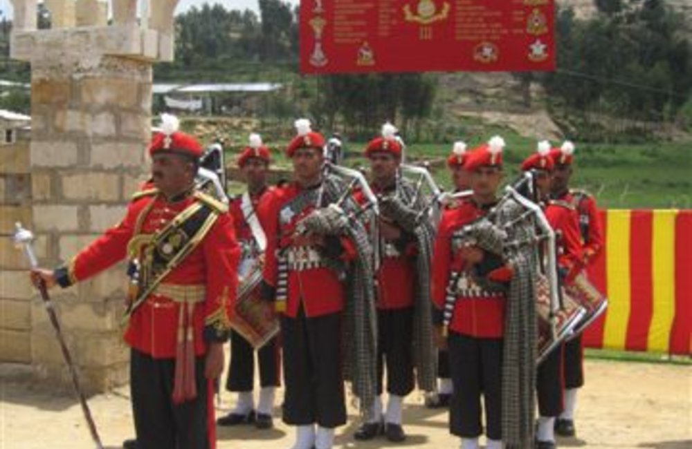 Regimental marching band of the Indian Batallion, Grenadiers in Adigrat, 4 August 2007 (UNMEE Photo: Ian Steele)