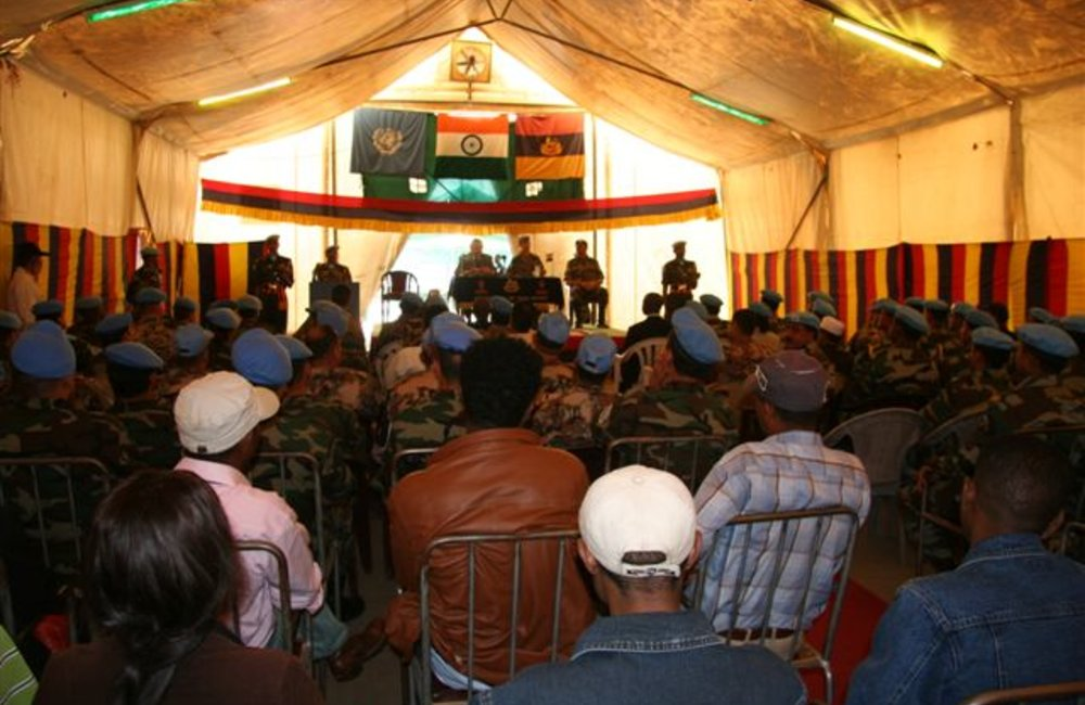 Acting Special Representative, Azouz Ennifar and Acting Force Commander Brig. Patrick Davidson-Houston address civilian and military staff during farewell visit to Adigrat, 6 August 2008.  (Photo: Ian Steele)