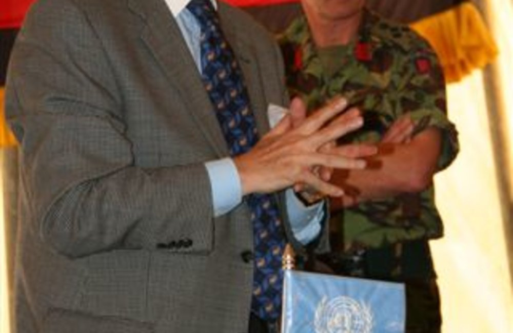 Acting Special Representative, Azouz Ennifar addresses civilian and military staff during farewell visit to Adigrat, 6 August 2008.  (Photo: Ian Steele)