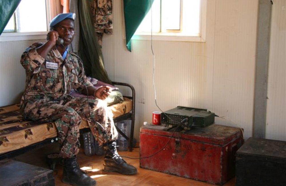 Radio operator in his quarters at Maileba, Eritrea 28 November 2008 (Photo: Ian Steele)